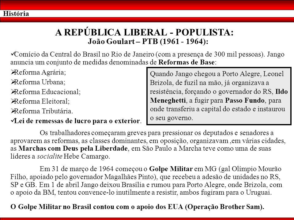 História A REPÚBLICA LIBERAL - POPULISTA: João Goulart – PTB (1961 - 1964): Comício da Central do Brasil no Rio de Janeiro (com a presença de 300 mil