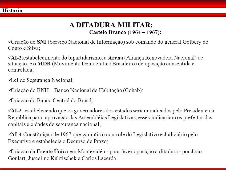 História A DITADURA MILITAR: Castelo Branco (1964 – 1967): Criação do SNI (Serviço Nacional de Informação) sob comando do general Golbery do Couto e S