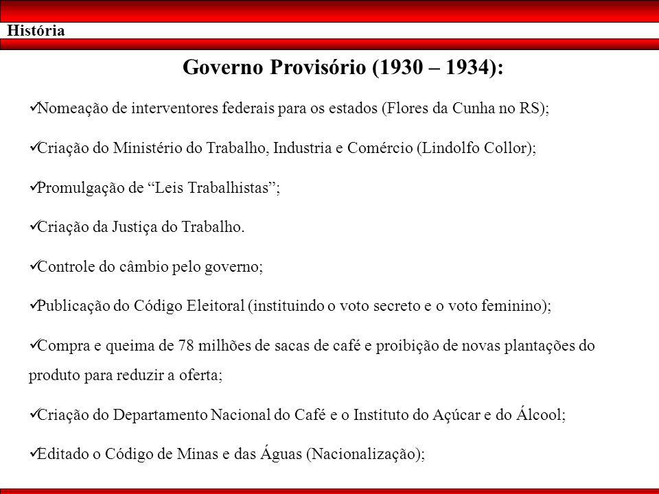 História Governo Provisório (1930 – 1934): Nomeação de interventores federais para os estados (Flores da Cunha no RS); Criação do Ministério do Trabal