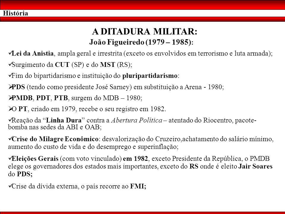 História A DITADURA MILITAR: João Figueiredo (1979 – 1985) : Lei da Anistia, ampla geral e irrestrita (exceto os envolvidos em terrorismo e luta armad