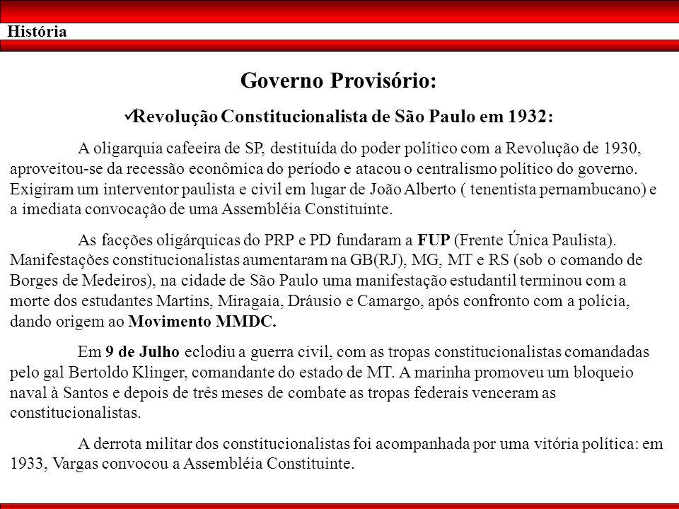 História Governo Provisório: Revolução Constitucionalista de São Paulo em 1932: A oligarquia cafeeira de SP, destituída do poder político com a Revolu