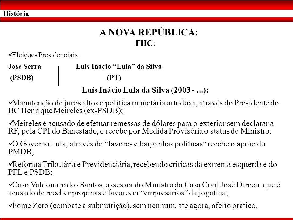 História A NOVA REPÚBLICA: FHC : Eleições Presidenciais: José Serra Luís Inácio Lula da Silva (PSDB) (PT) Luís Inácio Lula da Silva (2003 -...): Manut