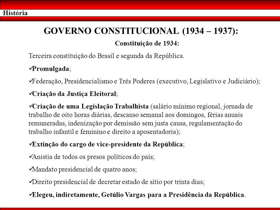 História GOVERNO CONSTITUCIONAL (1934 – 1937): Constituição de 1934: Terceira constituição do Brasil e segunda da República. Promulgada; Federação, Pr