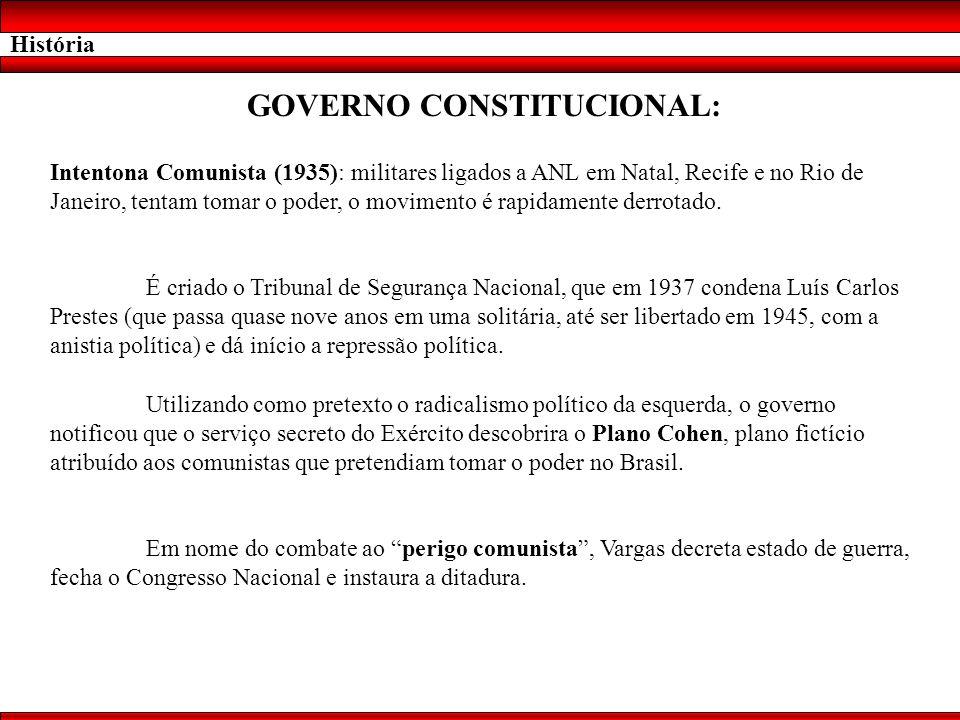 História GOVERNO CONSTITUCIONAL: Intentona Comunista (1935): militares ligados a ANL em Natal, Recife e no Rio de Janeiro, tentam tomar o poder, o mov
