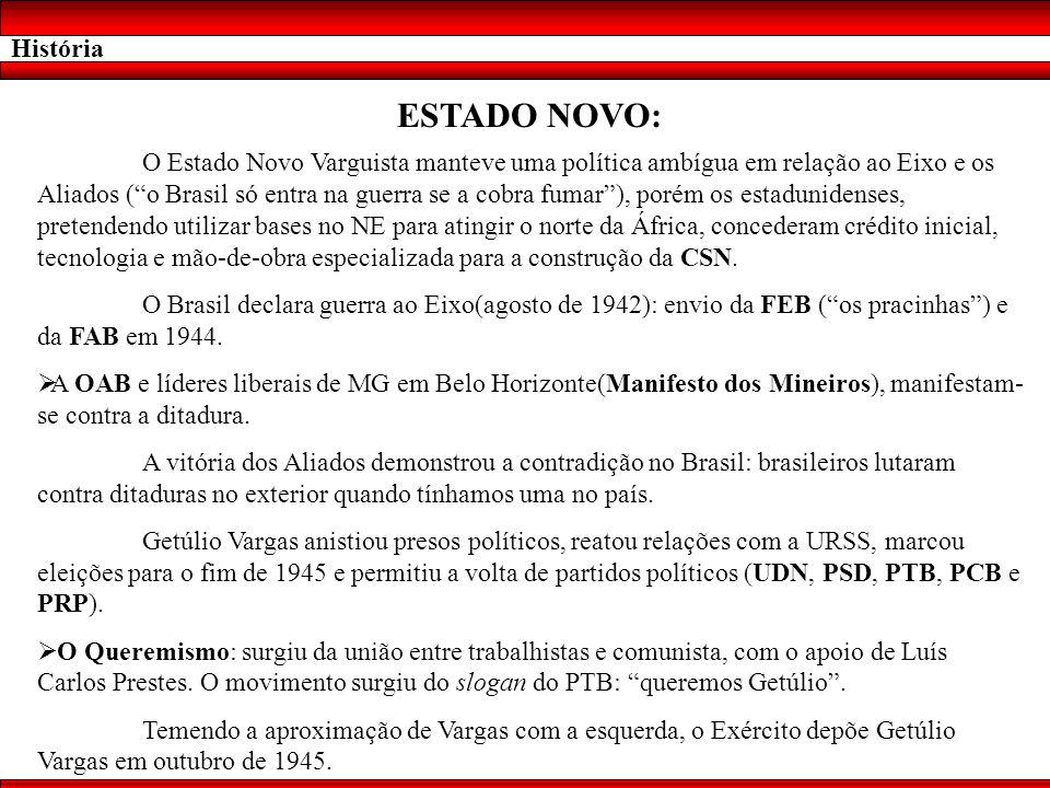 História ESTADO NOVO: O Estado Novo Varguista manteve uma política ambígua em relação ao Eixo e os Aliados (o Brasil só entra na guerra se a cobra fum