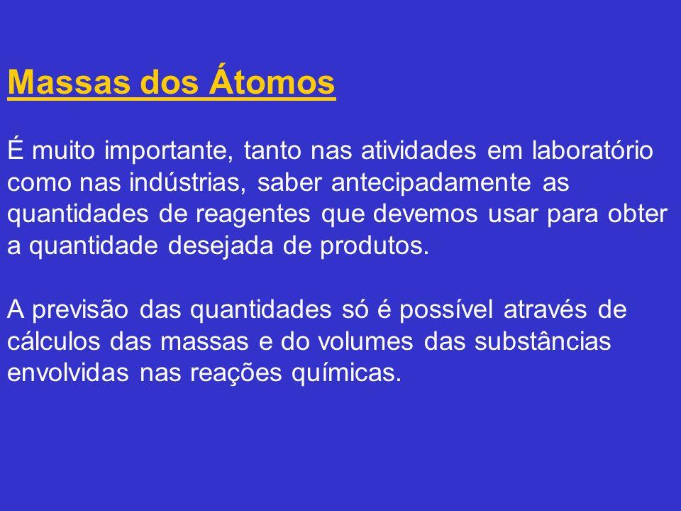 Como átomos ou moléculas são entidades muito pequenas para serem pesadas isoladamente, foi estabelecido um padrão para comparar suas massas.