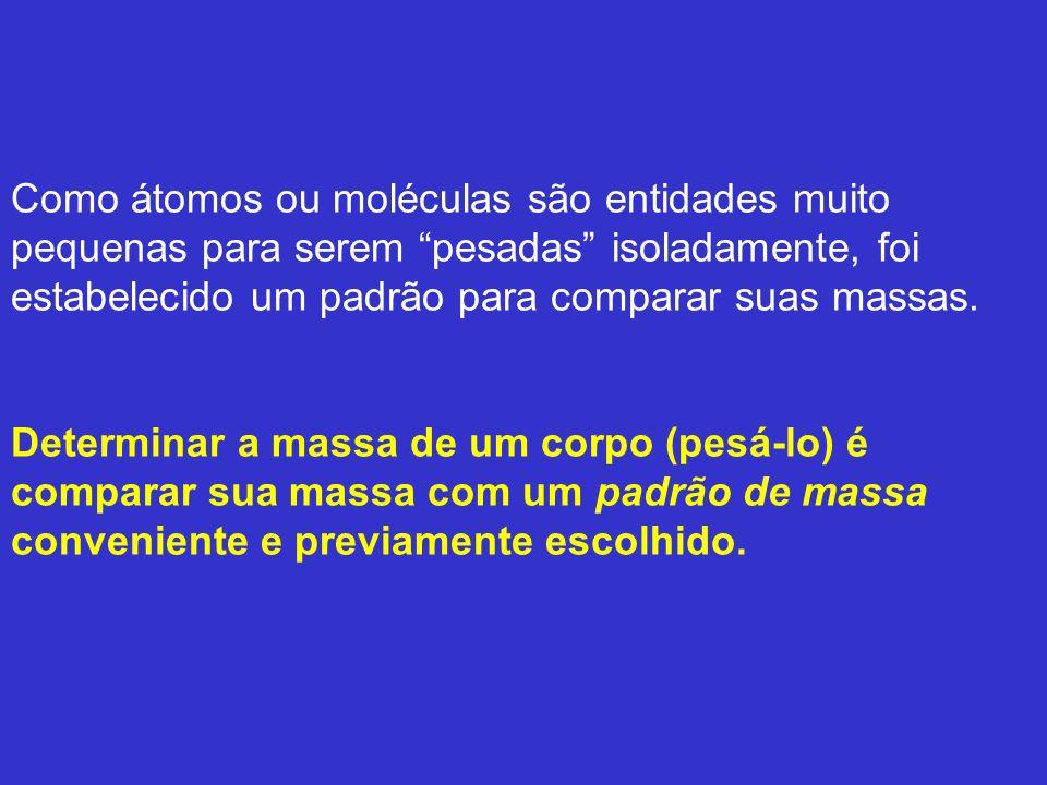Unidade de Massa Atômica (u ou u.m.a.) Para medir as massas dos átomos, os químicos escolheram como padrão a massa de um átomo.