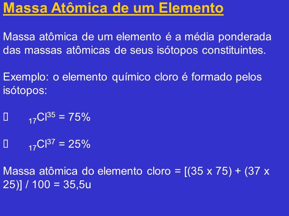 Massa Molecular Massa molecular de uma substância é a massa da molécula expressa em unidade de massa atômica (u).