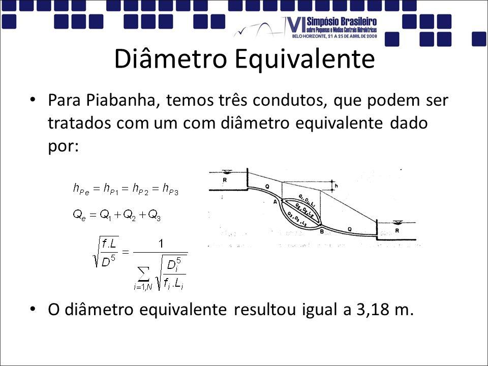 Diâmetro Equivalente Para Piabanha, temos três condutos, que podem ser tratados com um com diâmetro equivalente dado por: O diâmetro equivalente resul