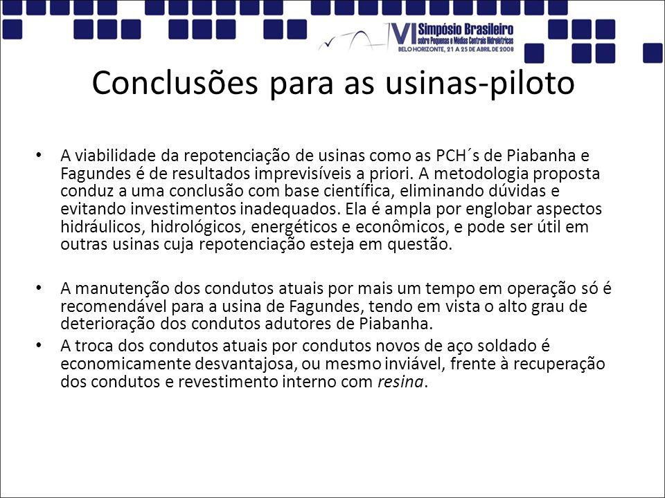 Conclusões para as usinas-piloto A viabilidade da repotenciação de usinas como as PCH´s de Piabanha e Fagundes é de resultados imprevisíveis a priori.