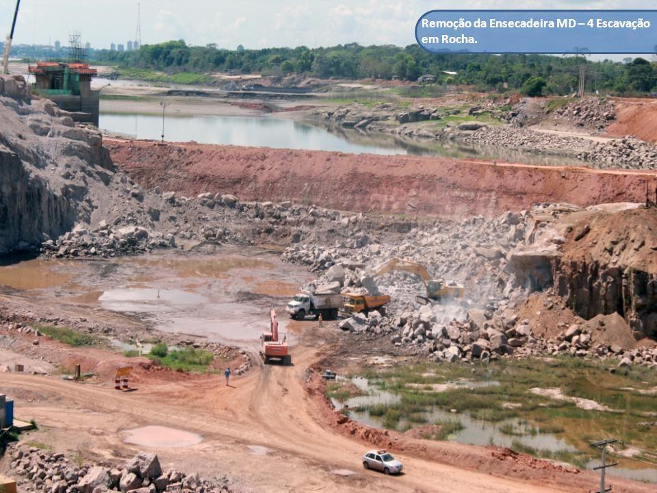 Remoção da Ensecadeira MD – 4 Escavação em Rocha.