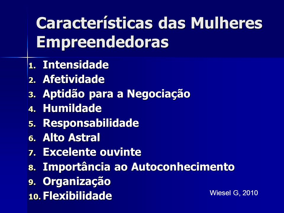 Características das Mulheres Empreendedoras 1.Intensidade 2.