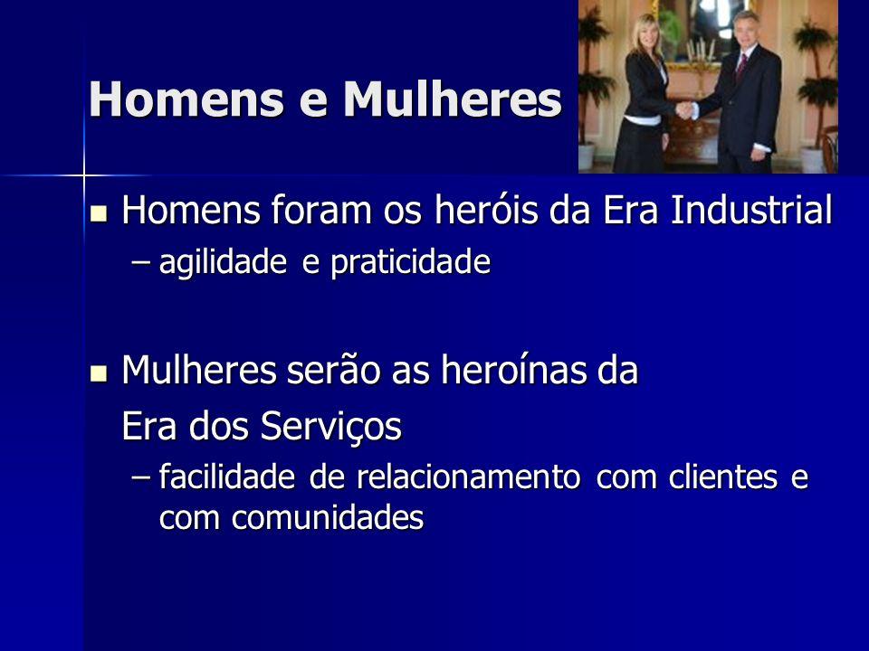 Homens e Mulheres Homens foram os heróis da Era Industrial Homens foram os heróis da Era Industrial –agilidade e praticidade Mulheres serão as heroínas da Mulheres serão as heroínas da Era dos Serviços –facilidade de relacionamento com clientes e com comunidades