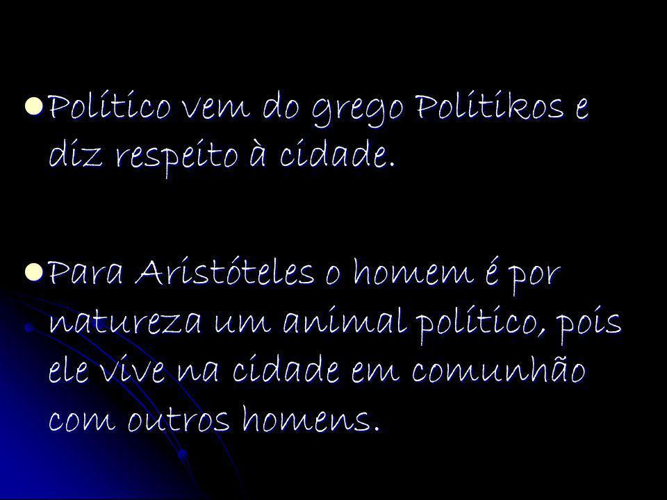 Político vem do grego Politikos e diz respeito à cidade. Político vem do grego Politikos e diz respeito à cidade. Para Aristóteles o homem é por natur