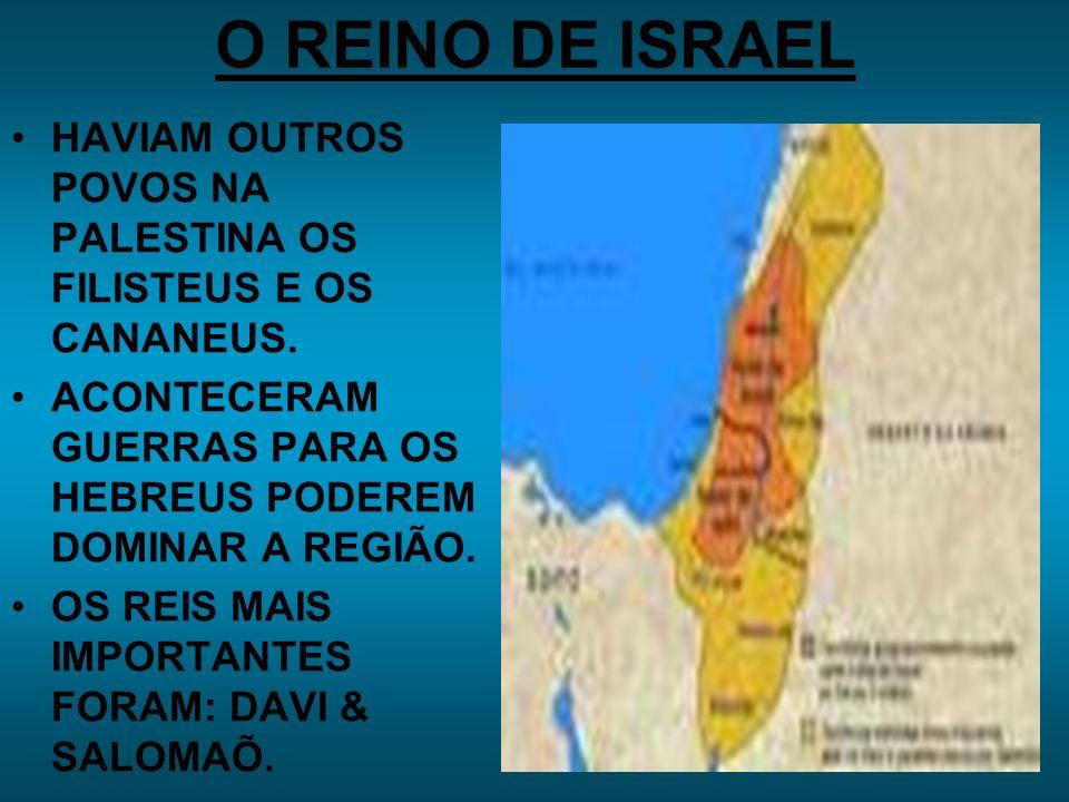 O REINO DE ISRAEL HAVIAM OUTROS POVOS NA PALESTINA OS FILISTEUS E OS CANANEUS.
