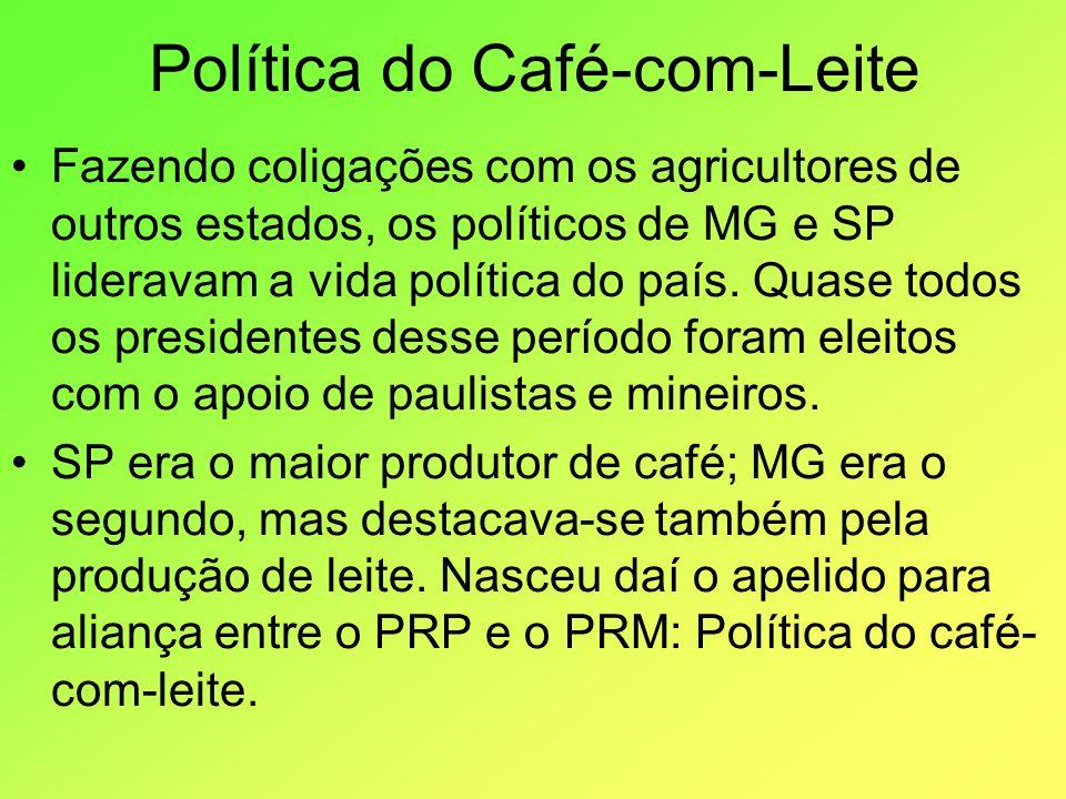 Política do Café-com-Leite Fazendo coligações com os agricultores de outros estados, os políticos de MG e SP lideravam a vida política do país. Quase