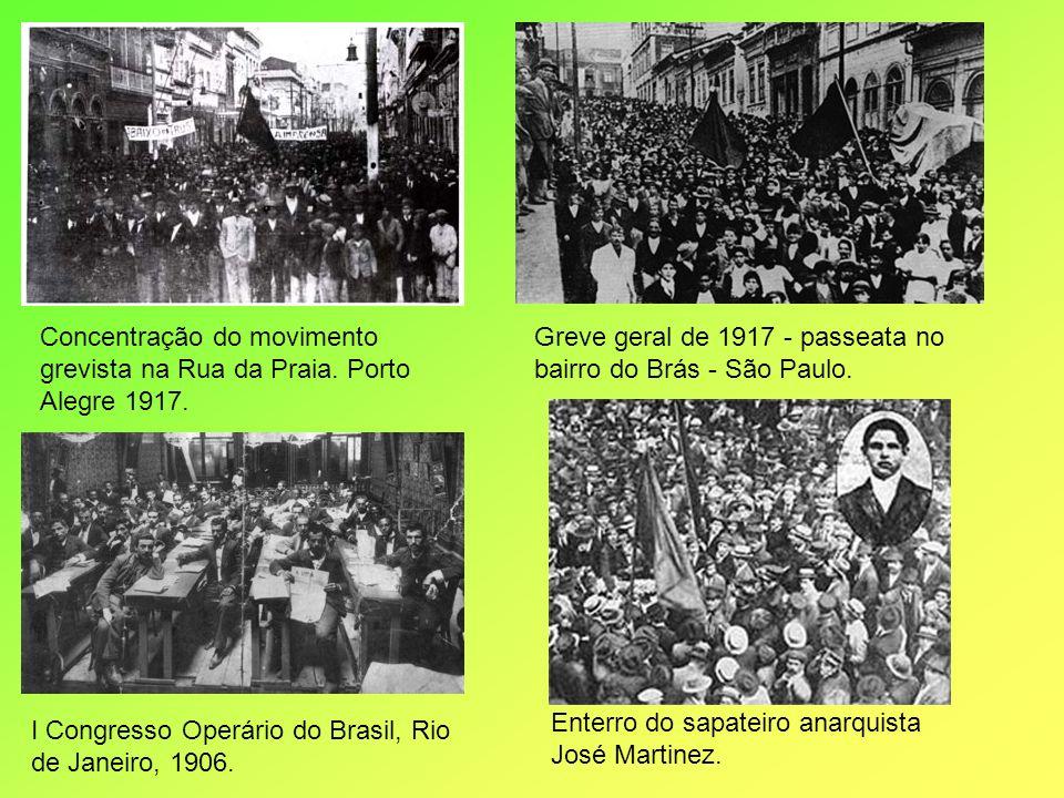 Concentração do movimento grevista na Rua da Praia. Porto Alegre 1917. Greve geral de 1917 - passeata no bairro do Brás - São Paulo. I Congresso Operá