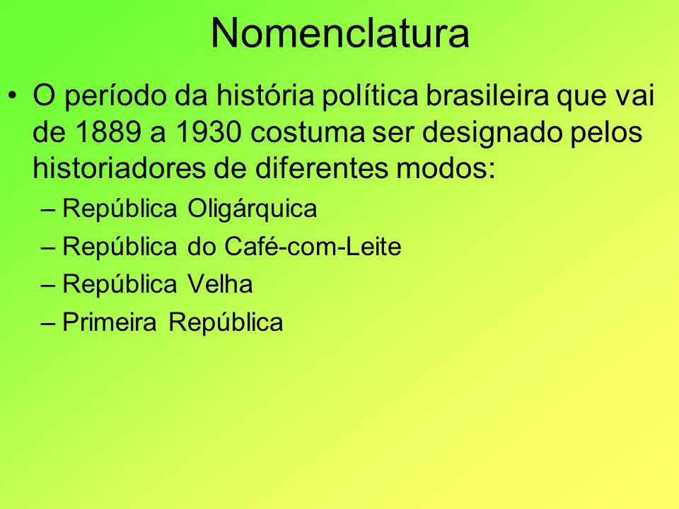 Nomenclatura O período da história política brasileira que vai de 1889 a 1930 costuma ser designado pelos historiadores de diferentes modos: –Repúblic