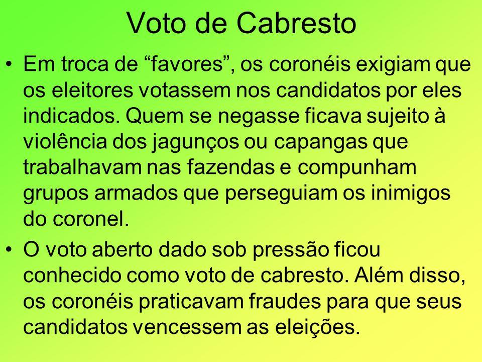 Voto de Cabresto Em troca de favores, os coronéis exigiam que os eleitores votassem nos candidatos por eles indicados. Quem se negasse ficava sujeito