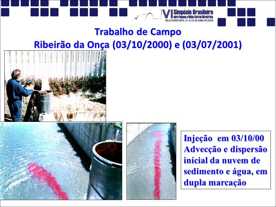 Trabalho de Campo Ribeirão da Onça (03/10/2000) e (03/07/2001) Injeção em 03/10/00 Advecção e dispersão inícial da nuvem de sedimento e água, em dupla