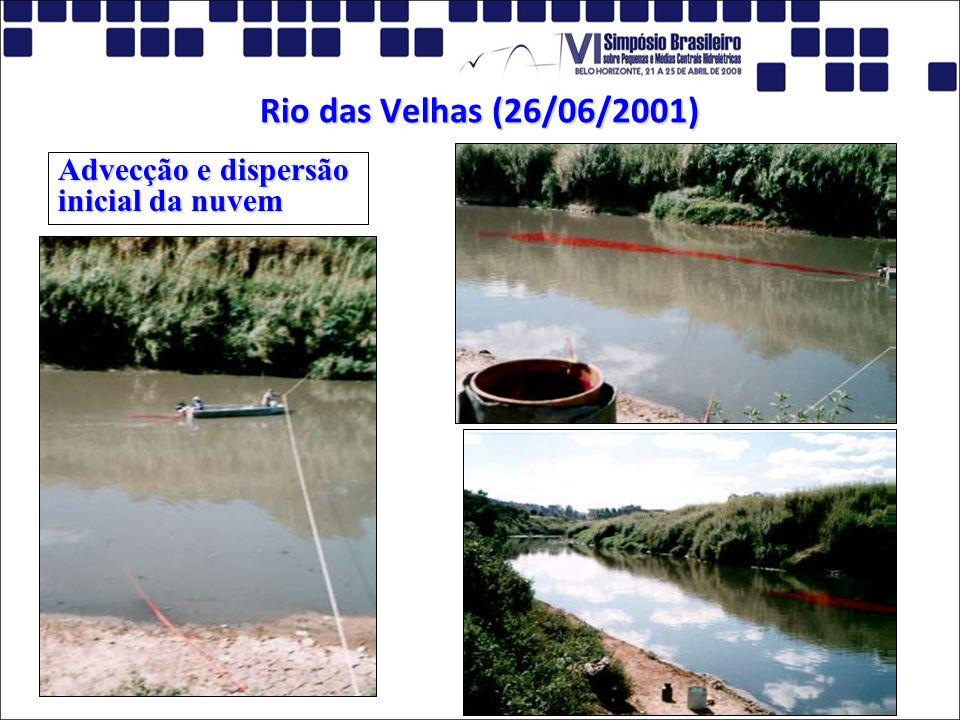 Rio das Velhas (26/06/2001) Advecção e dispersão inicial da nuvem