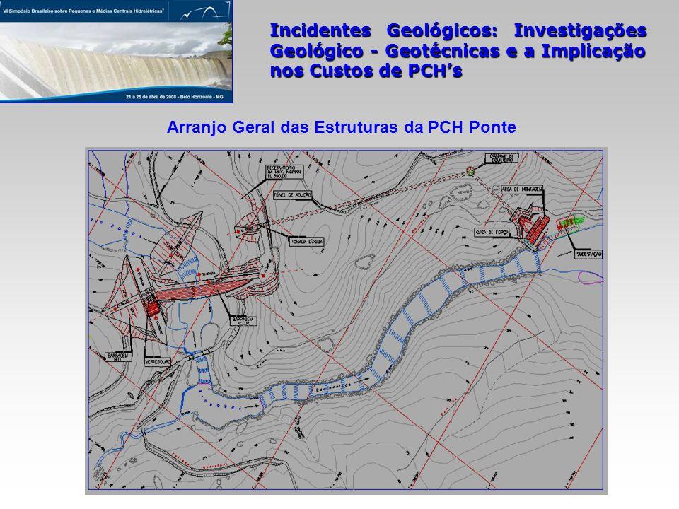 Incidentes Geológicos: Investigações Geológico - Geotécnicas e a Implicação nos Custos de PCHs Arranjo Geral das Estruturas da PCH Ponte