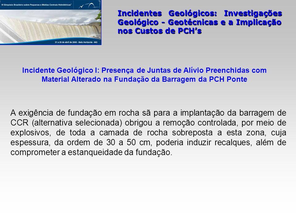 Incidentes Geológicos: Investigações Geológico - Geotécnicas e a Implicação nos Custos de PCHs A exigência de fundação em rocha sã para a implantação