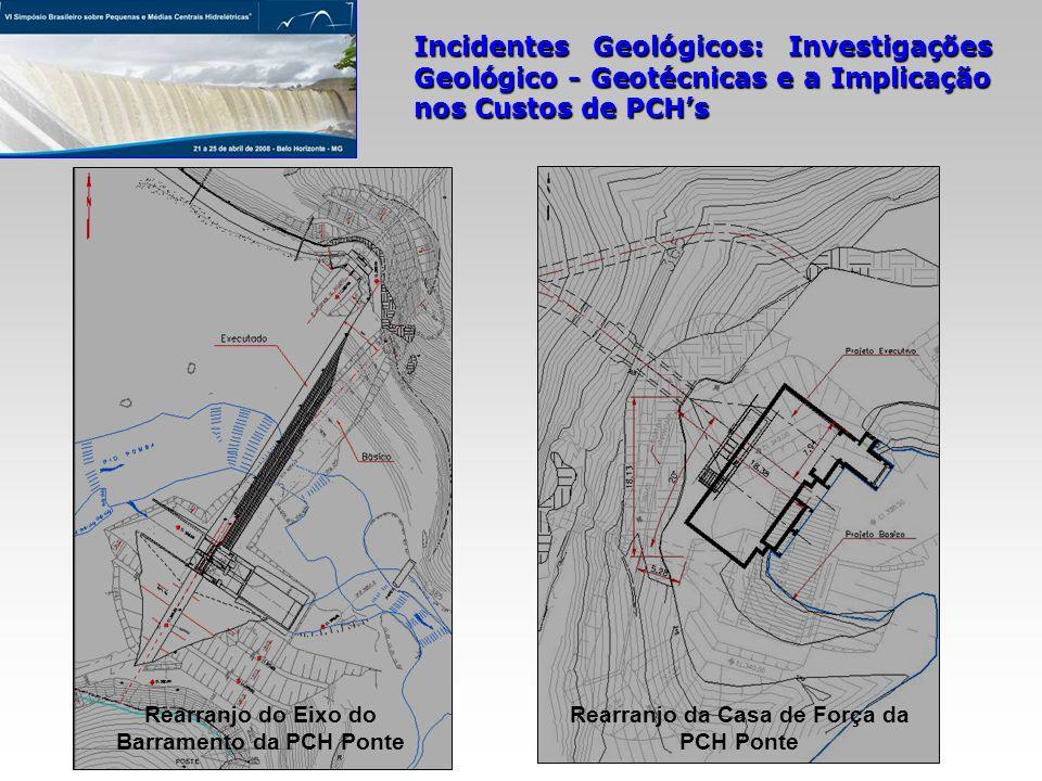 Incidentes Geológicos: Investigações Geológico - Geotécnicas e a Implicação nos Custos de PCHs Rearranjo da Casa de Força da PCH Ponte Rearranjo do Ei