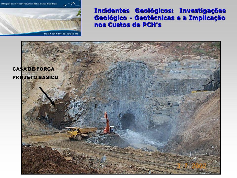 Incidentes Geológicos: Investigações Geológico - Geotécnicas e a Implicação nos Custos de PCHs CASA DE FORÇA PROJETO BÁSICO