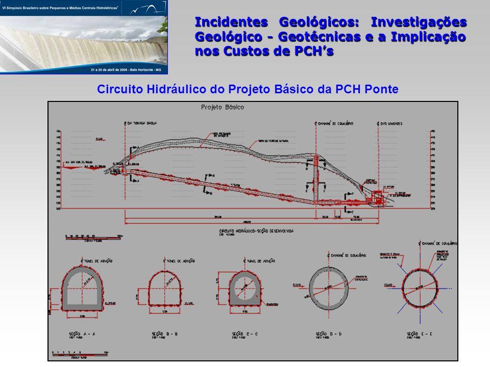Incidentes Geológicos: Investigações Geológico - Geotécnicas e a Implicação nos Custos de PCHs Circuito Hidráulico do Projeto Básico da PCH Ponte