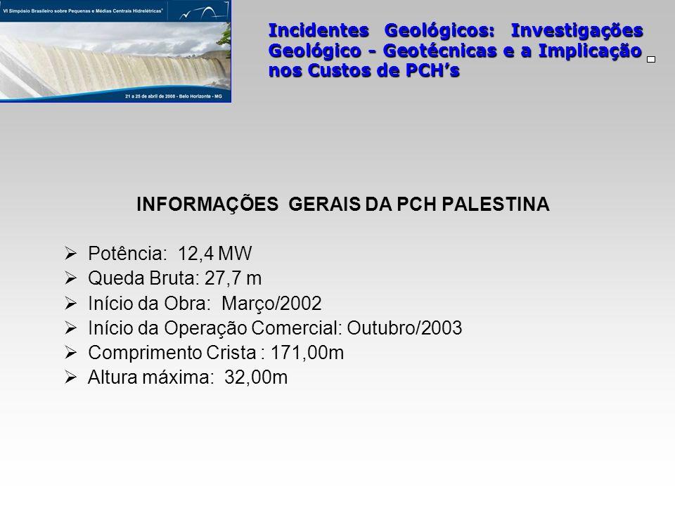 INFORMAÇÕES GERAIS DA PCH PALESTINA Potência: 12,4 MW Queda Bruta: 27,7 m Início da Obra: Março/2002 Início da Operação Comercial: Outubro/2003 Compri