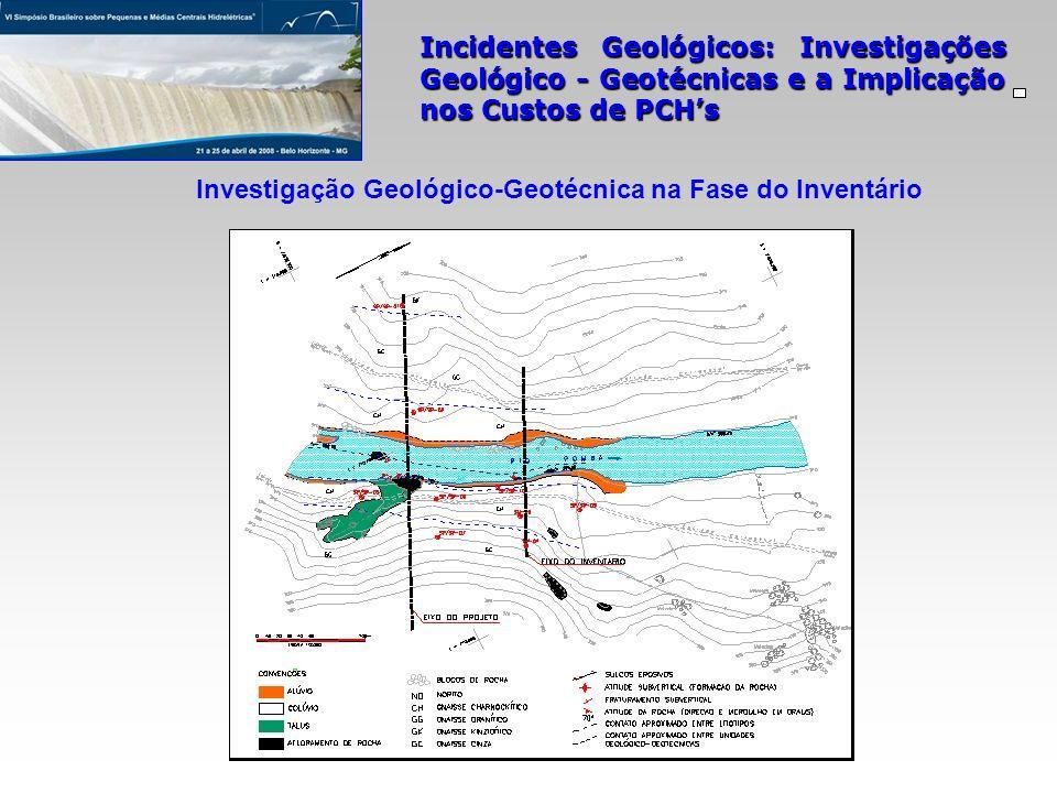 Incidentes Geológicos: Investigações Geológico - Geotécnicas e a Implicação nos Custos de PCHs Investigação Geológico-Geotécnica na Fase do Inventário