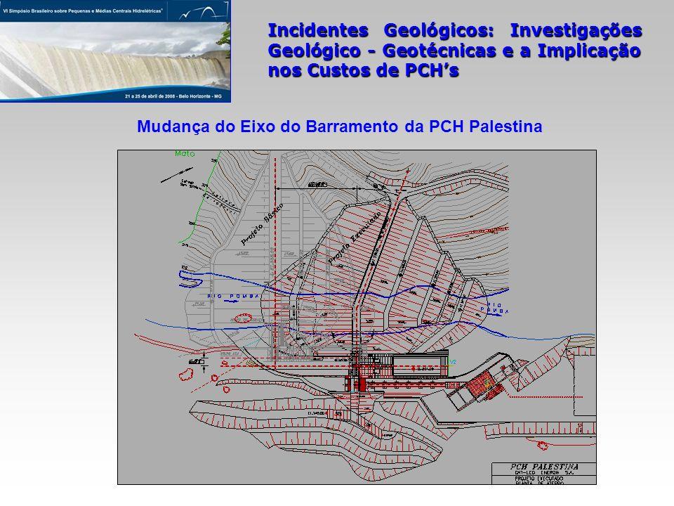 Incidentes Geológicos: Investigações Geológico - Geotécnicas e a Implicação nos Custos de PCHs Mudança do Eixo do Barramento da PCH Palestina
