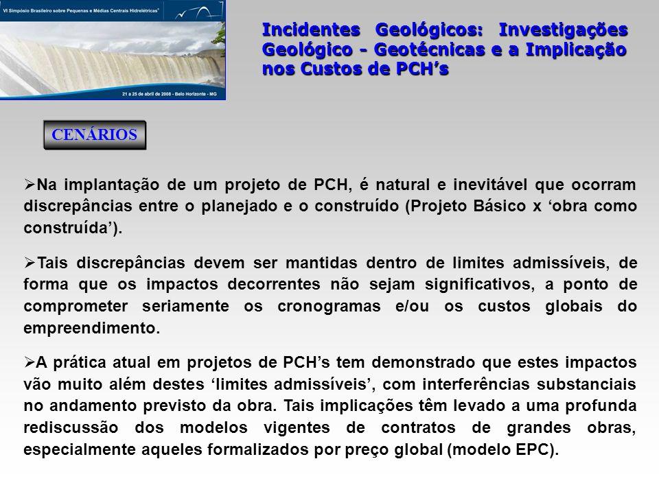 Incidentes Geológicos: Investigações Geológico - Geotécnicas e a Implicação nos Custos de PCHs mapeamento geológico-geotécnico da área na escala 1:2.000; OD: duas sondagens mistas (SMPA-03 e SMPA-04), cinco rotativas (SRPA-05 a SRPA-07, SRPA-09 e SRPA-10) e cinco à percussão (SPPA-05 a SPPA-07, SPPA-09 e SPPA-10); leito do rio: uma sondagem rotativa (SRPA-10), inclinada de 45 0; OE: duas sondagens rotativas (SRPA-01 e SRPA-02) e duas à percussão (SPPA-01 e SPPA-02); ensaios SPT e de infiltração nos trechos em solo; um estudo geofísico (sísmica de refração) para caracterização do topo rochoso local.