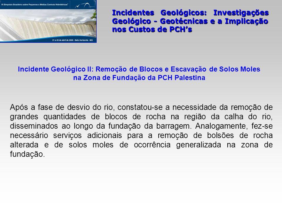 Incidentes Geológicos: Investigações Geológico - Geotécnicas e a Implicação nos Custos de PCHs Após a fase de desvio do rio, constatou-se a necessidad