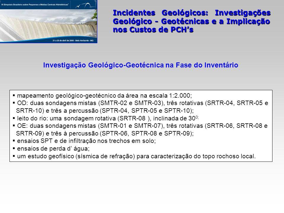 Incidentes Geológicos: Investigações Geológico - Geotécnicas e a Implicação nos Custos de PCHs mapeamento geológico-geotécnico da área na escala 1:2.0