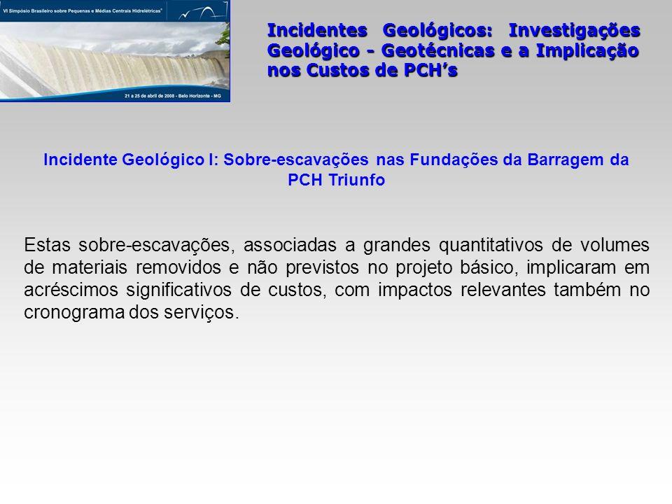 Incidentes Geológicos: Investigações Geológico - Geotécnicas e a Implicação nos Custos de PCHs Incidente Geológico I: Sobre-escavações nas Fundações d