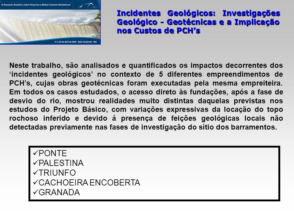 Incidentes Geológicos: Investigações Geológico - Geotécnicas e a Implicação nos Custos de PCHs PONTE PALESTINA TRIUNFO CACHOEIRA ENCOBERTA GRANADA Nes