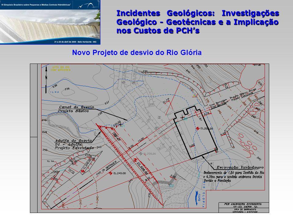 Incidentes Geológicos: Investigações Geológico - Geotécnicas e a Implicação nos Custos de PCHs Novo Projeto de desvio do Rio Glória