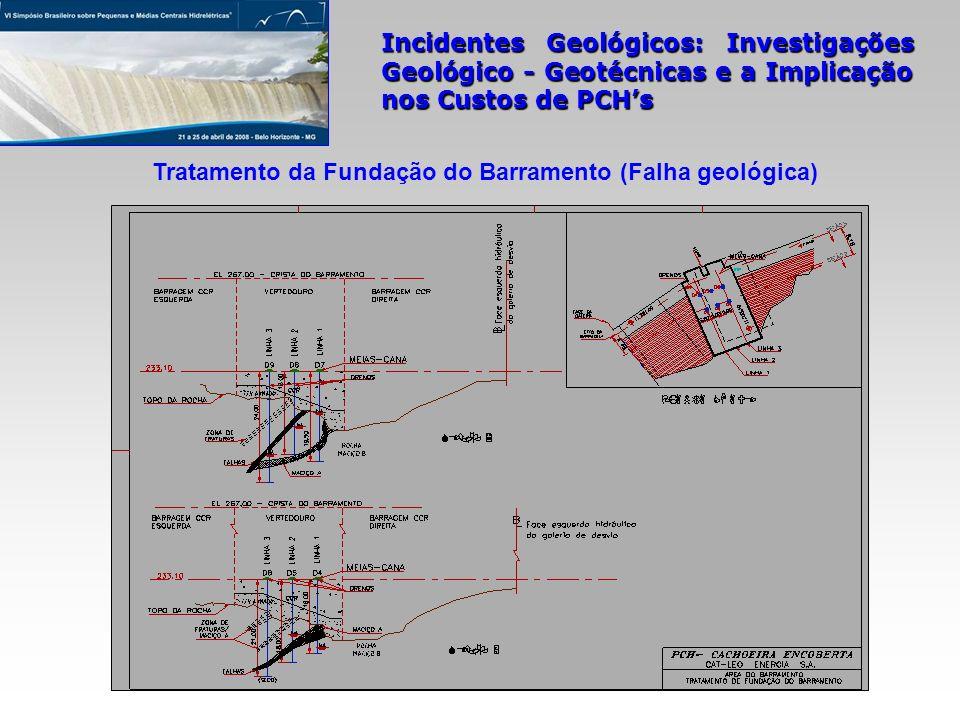 Incidentes Geológicos: Investigações Geológico - Geotécnicas e a Implicação nos Custos de PCHs Tratamento da Fundação do Barramento (Falha geológica)