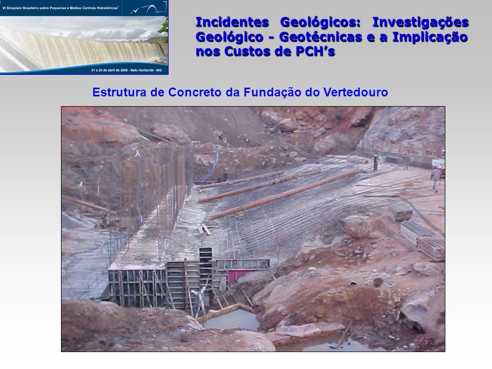 Incidentes Geológicos: Investigações Geológico - Geotécnicas e a Implicação nos Custos de PCHs Estrutura de Concreto da Fundação do Vertedouro