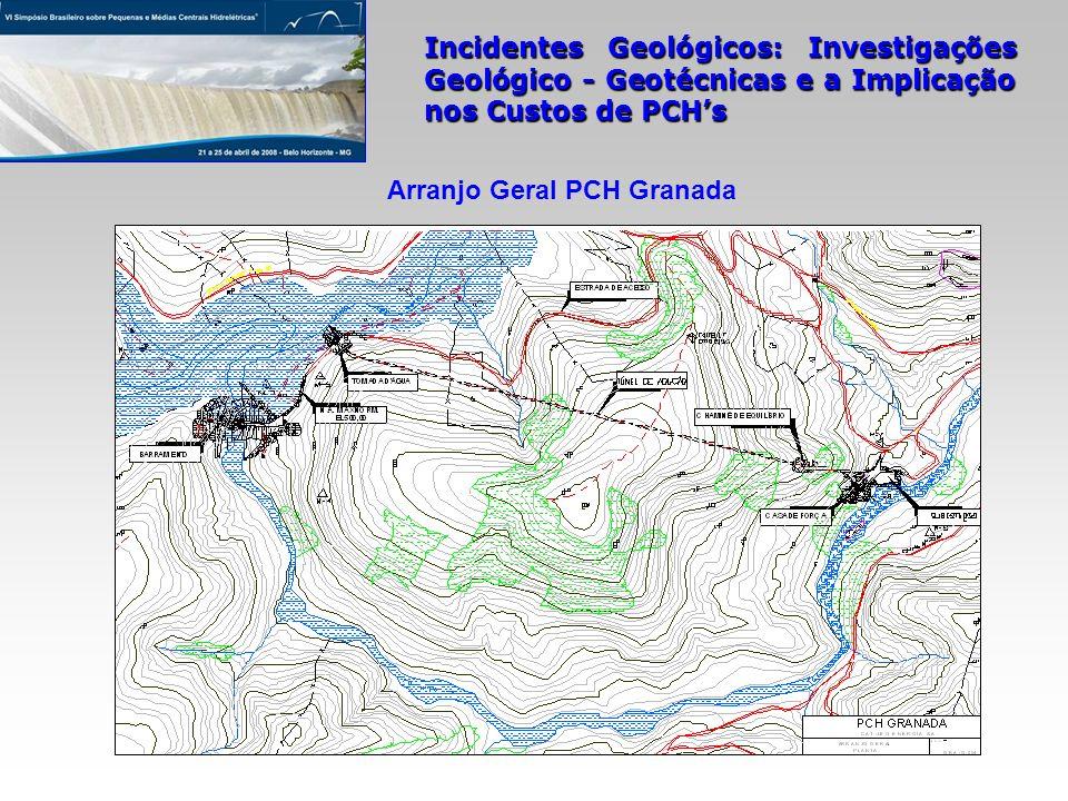 Incidentes Geológicos: Investigações Geológico - Geotécnicas e a Implicação nos Custos de PCHs Arranjo Geral PCH Granada