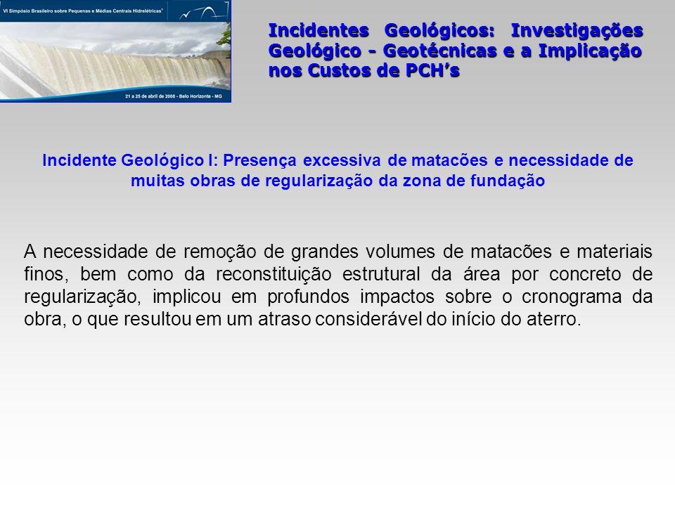 Incidentes Geológicos: Investigações Geológico - Geotécnicas e a Implicação nos Custos de PCHs A necessidade de remoção de grandes volumes de matacões