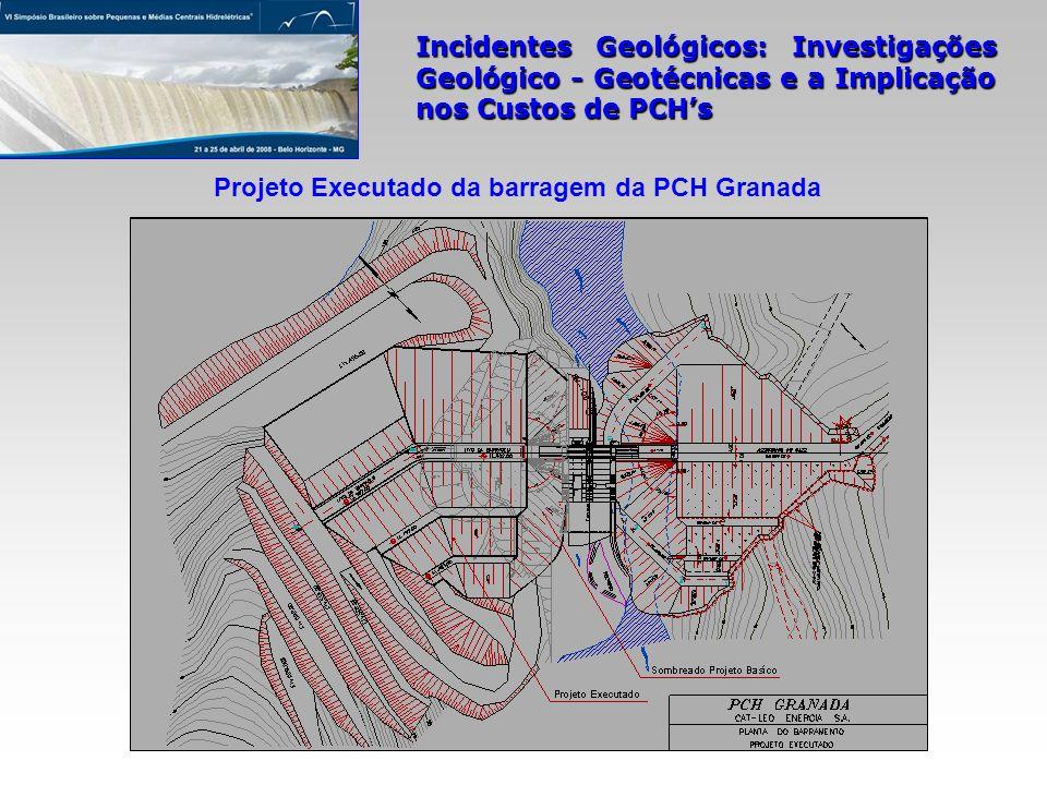 Incidentes Geológicos: Investigações Geológico - Geotécnicas e a Implicação nos Custos de PCHs Projeto Executado da barragem da PCH Granada