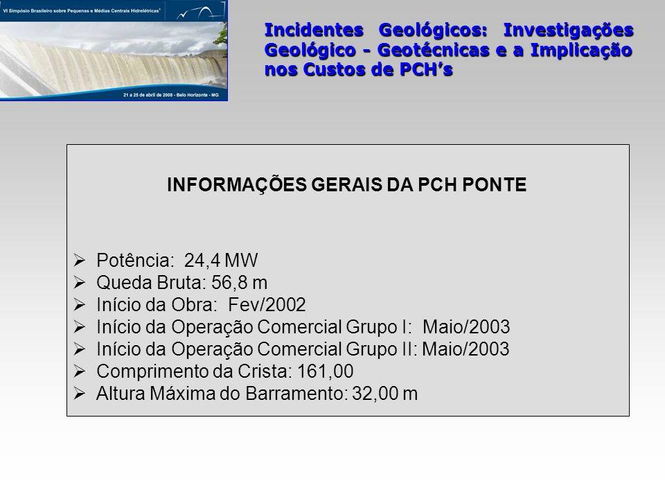 Incidentes Geológicos: Investigações Geológico - Geotécnicas e a Implicação nos Custos de PCHs mapeamento geológico-geotécnico da área na escala 1:1.000 5 sondagens rotativas (SRPO-01 a SRPO-05) 21 sondagens mecânicas mistas (SM-01 a SM-21; SM-13 e 14 inclinadas de 30 0 ) perfuração de 236,75 m em solo e 476,55 m em rocha ensaios SPT e de infiltração nos trechos em solo 142 ensaios de perda d água nos trechos em rocha instalação de 02 medidores de NA em cada ombreira execução de 01 poço na OD para coleta de amostras indeformadas coleta de amostras de rocha sã em afloramentos da OE séries de ensaios de laboratório em amostras em solos, rochas e em testemunhos de sondagens mistas Investigação Geológico-Geotécnica na Fase do Inventário