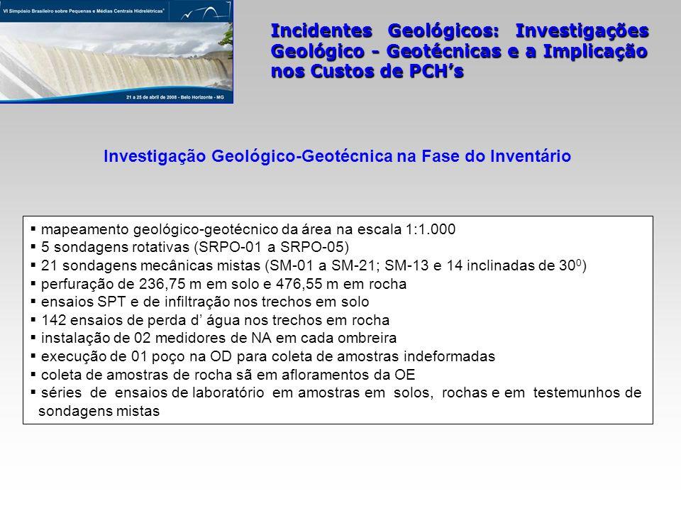 Incidentes Geológicos: Investigações Geológico - Geotécnicas e a Implicação nos Custos de PCHs