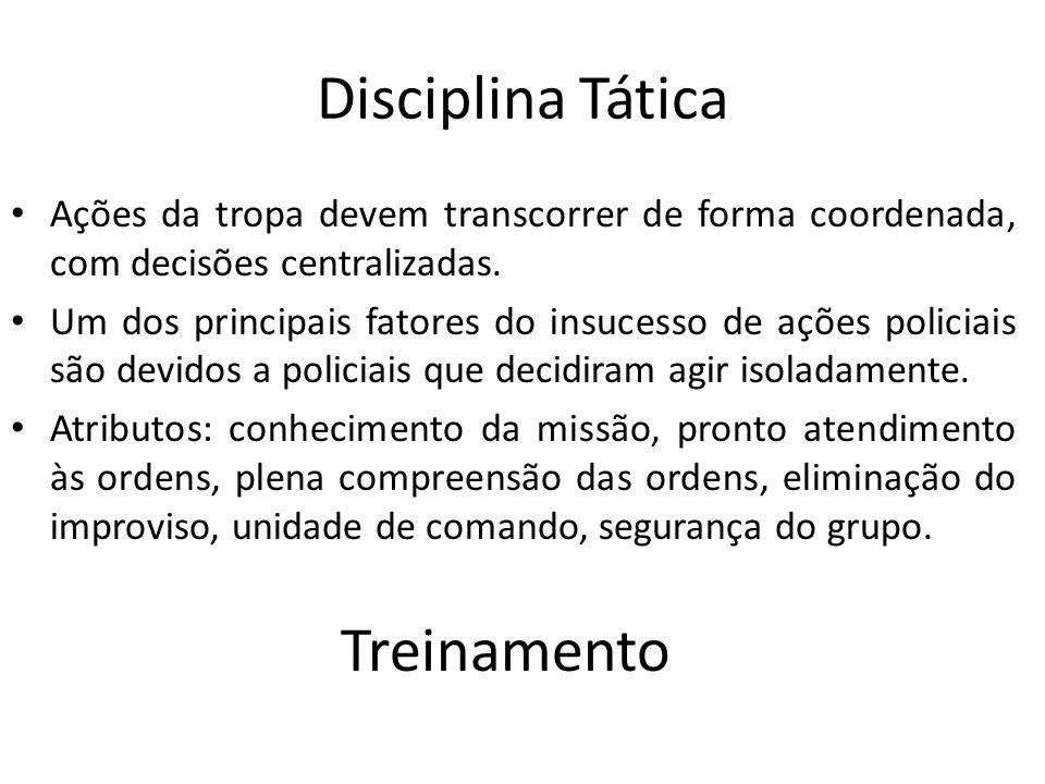 Disciplina Tática Ações da tropa devem transcorrer de forma coordenada, com decisões centralizadas. Um dos principais fatores do insucesso de ações po