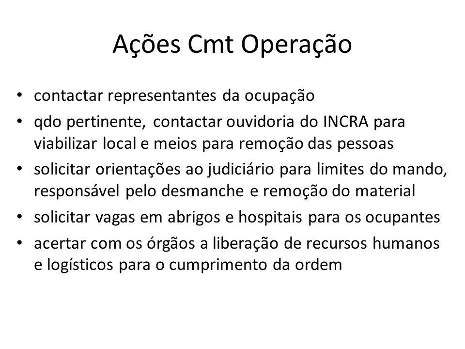Ações Cmt Operação contactar representantes da ocupação qdo pertinente, contactar ouvidoria do INCRA para viabilizar local e meios para remoção das pe