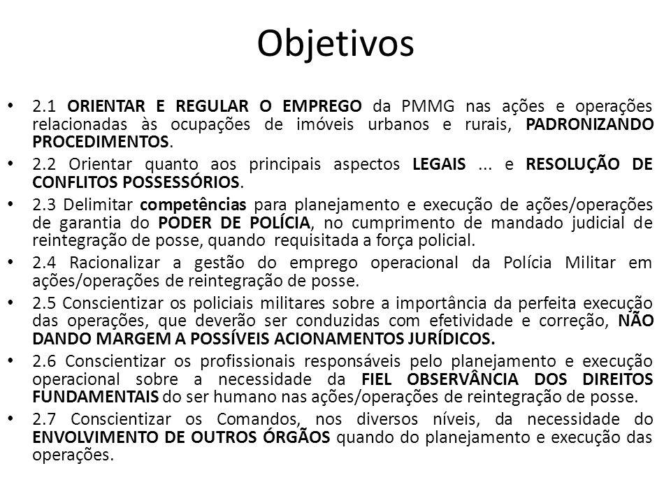 Objetivos 2.1 ORIENTAR E REGULAR O EMPREGO da PMMG nas ações e operações relacionadas às ocupações de imóveis urbanos e rurais, PADRONIZANDO PROCEDIME