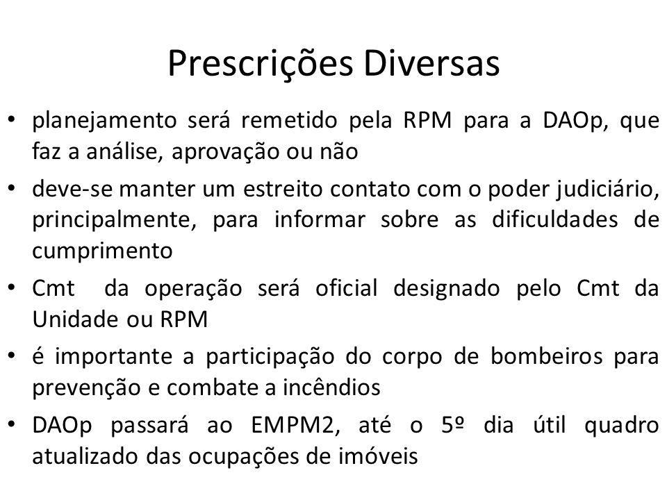 Prescrições Diversas planejamento será remetido pela RPM para a DAOp, que faz a análise, aprovação ou não deve-se manter um estreito contato com o pod